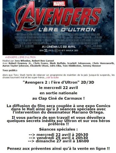 Programme - Avengers 2, ère d'Ultron - Clap Ciné Carmaux