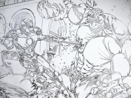 Iron man contre Hulk - crayonné préliminaire
