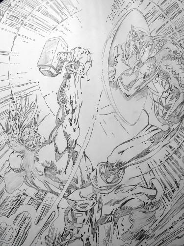 Thor contre Captain America - Alan Davis - crayonné