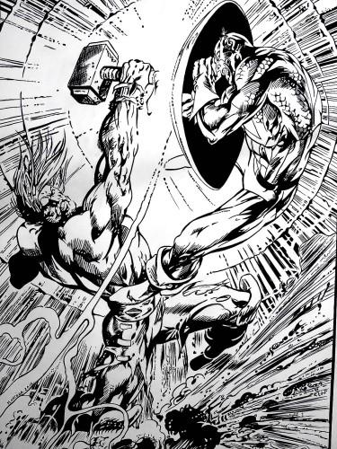 Thor contre Captain America - Alan Davis - encré