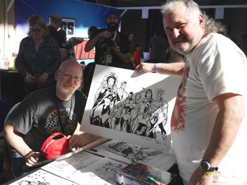 Arthur Adams avec mon dessin X-men
